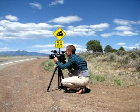 Jeremy filming in New Mexico on the Samsara by Bus Tour in 2009