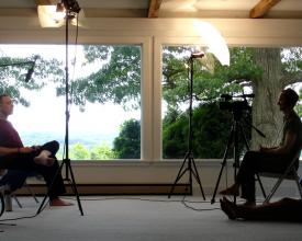 Director Jeremy Frindel interviewing Krishna Das for the first time at Yogaville, 2009
