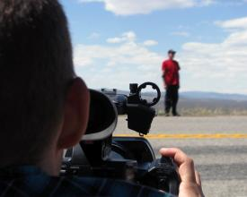 Jeremy and KD setting up a shot in New Mexico, 2011