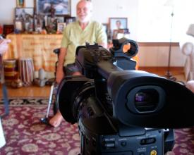 Jeremy interviewing Ram Dass in Maui, 2010